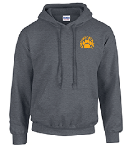 (Quinsigamond Store) Dark Heather Grey Hoodie -  Paw