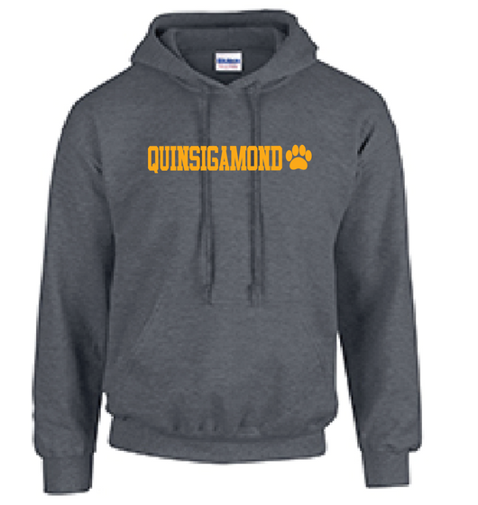(Quinsigamond Store) Dark Heather Grey Hoodie -  Quinsigamond