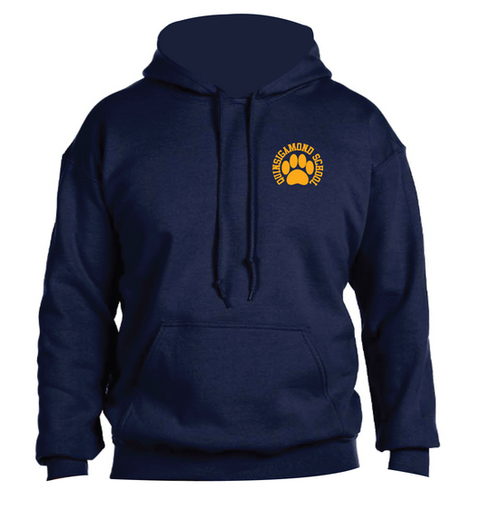 (Quinsigamond Store) Navy Blue Hoodie Left Chest - Paw Print