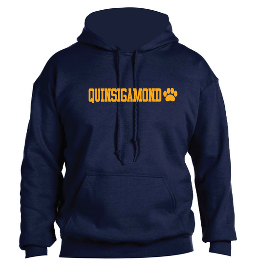 (Quinsigamond Store) Navy Blue Hoodie Left Chest -  Quinsigamond