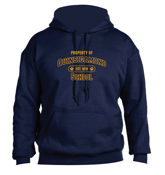 (Quinsigamond Store) Navy Blue Hoodie -  Property Of