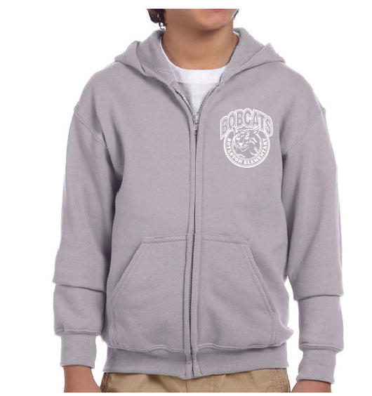 (Boylston Bobcats) Sport Grey Zip Hooded Sweatshirt- YOUTH G186b