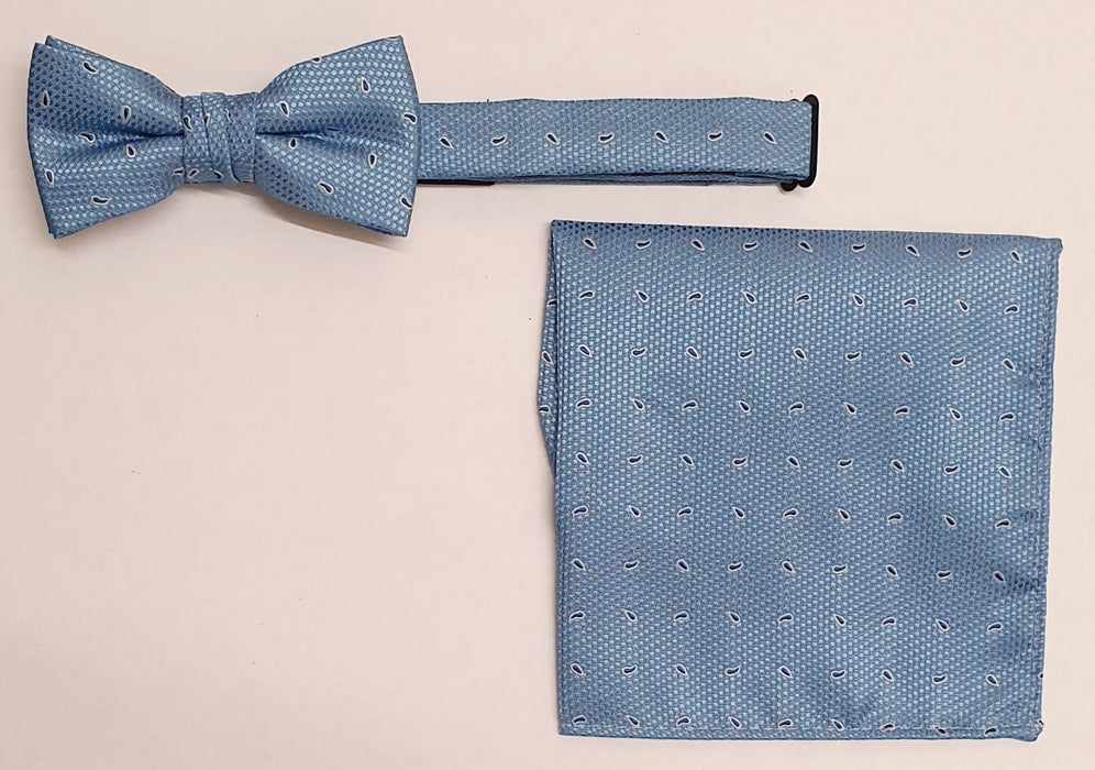 1880 Club Boys Bow Tie Pocket Square Blue