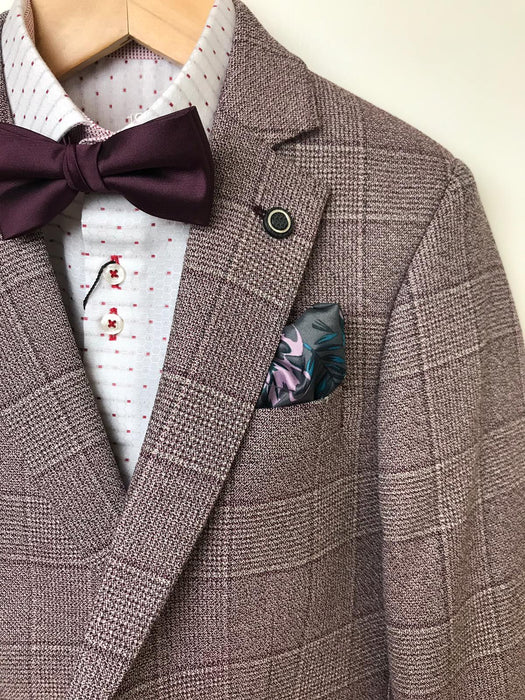 1880 Club Boys Burgundy Checked Suit