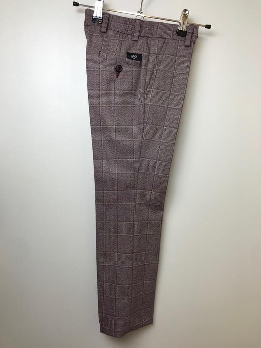 1880 Club Brown/Burgundy Checked Trousers
