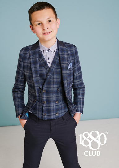 1880 Club Navy & Tan Checked Blazer