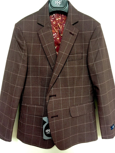1880 Club Boys Burgundy Checked Blazer