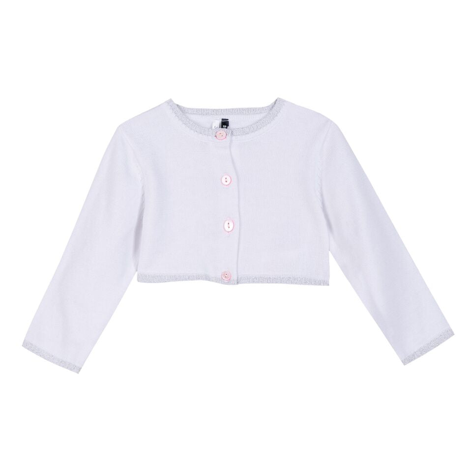 3 Pommes Baby Girls Plain White Cardigan