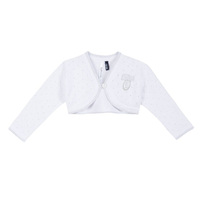 3 Pommes Baby Girls White Silver Cardigan