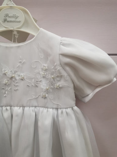 Girls Pretty Princess White Christening Gown Detail