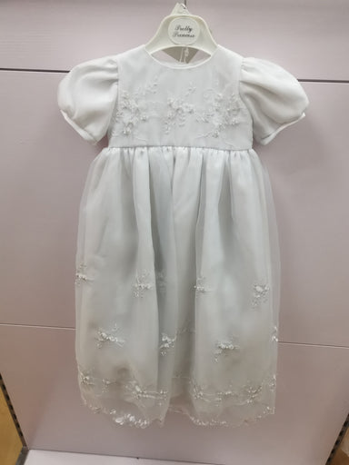 Girls Pretty Princess White Christening Gown