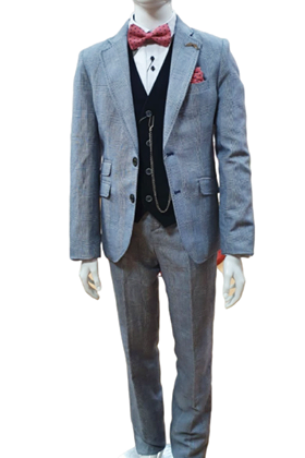 One Varones Navy And White Checked  Suit