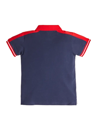Guess Boys Navy And Red Polo