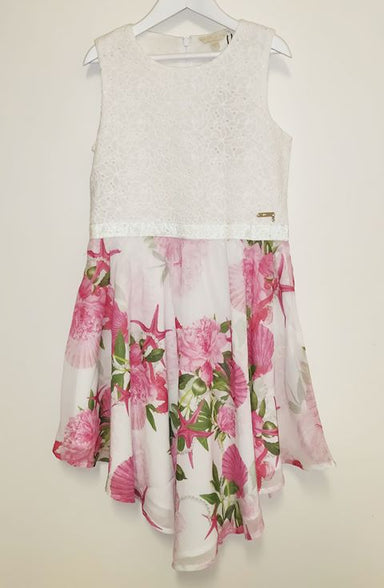 Guess Girls Lace and Floral Print Dress