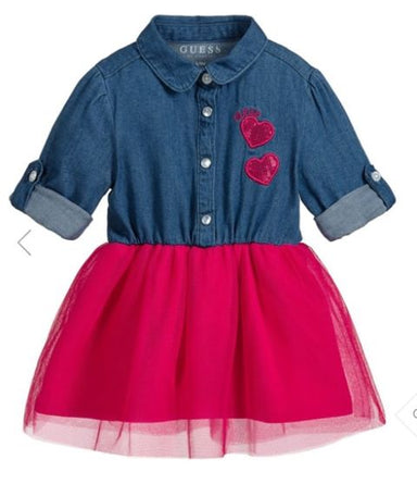 Guess Baby Girl Denim & Pink Outfit