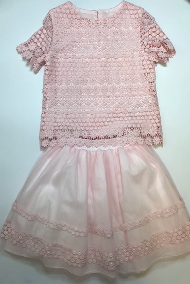 Daga Girls Pink Crochet Top & Skirt
