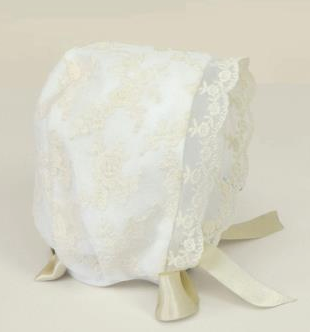 Beautiful Amaya Lace Ivory Baby Christening Bonnet