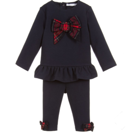 Patachou Girls Navy Top And Navy Leggings Set