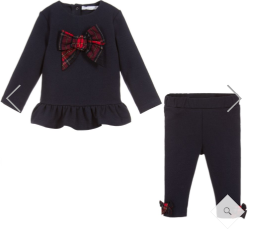 Patachou Girls Navy Top And Leggings Set