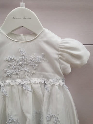Romano Girls White Princess Lace Applique Christening Gown Detail