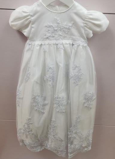 Romano Girls White Princess Lace Applique Christening Gown
