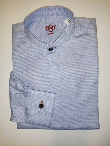 1880 Club Boys Blue Patterned Grandad Shirt