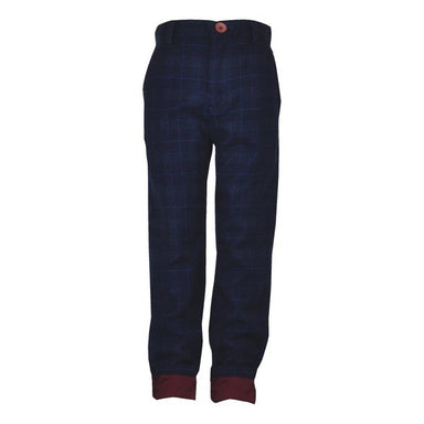Little Lord Navy Checked Trousers