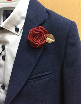 Burgundy Flower Lapel Pin.