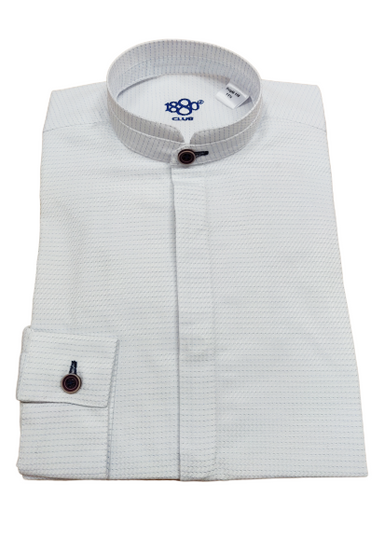 1880 Club Boys White Patterned Grandad Shirt