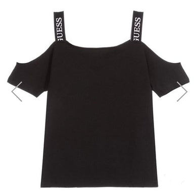 Guess Girls Black Cold Shoulder Top