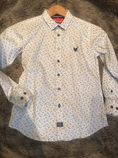 Boys floral print navy and white shirt
