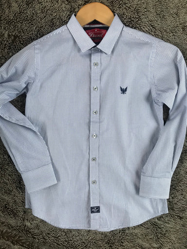 Boys Navy /white patterned shirt