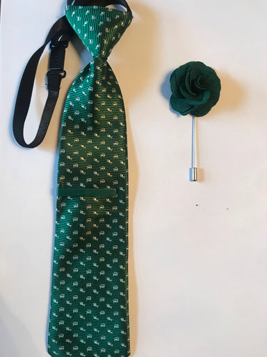 Green tie, tie pin and lapel flower
