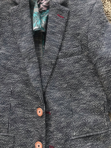 1880 navy white tweed effect blazer