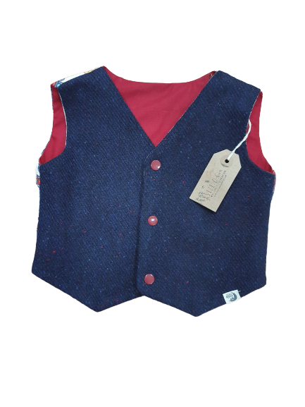 Silver Apples Navy reversible Waistcoat