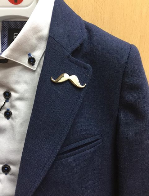Moustache Silver Lapel Pin