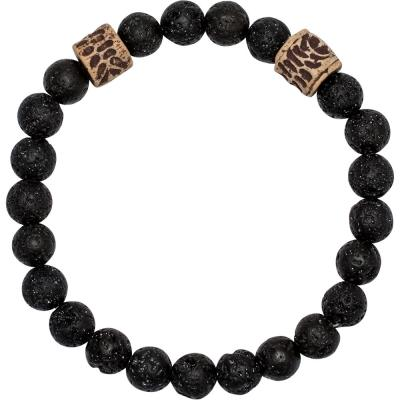 Bracelet - 8mm - For Men - Lava Beads – Diffuse + Artifact Spacers