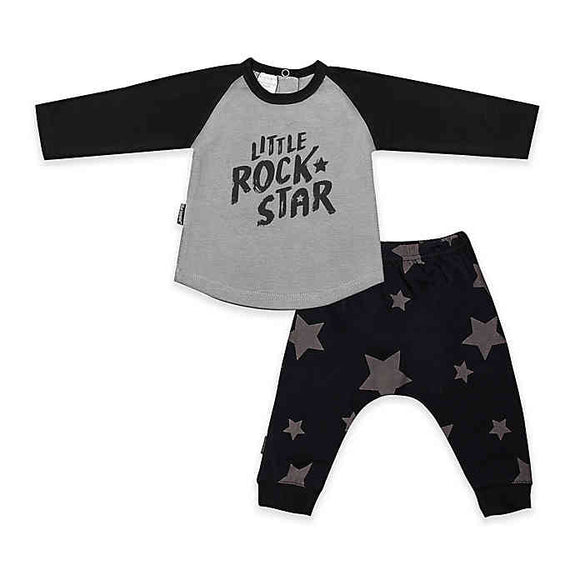 2-Piece Little Rock Star Pant and Shirt Set in Grey