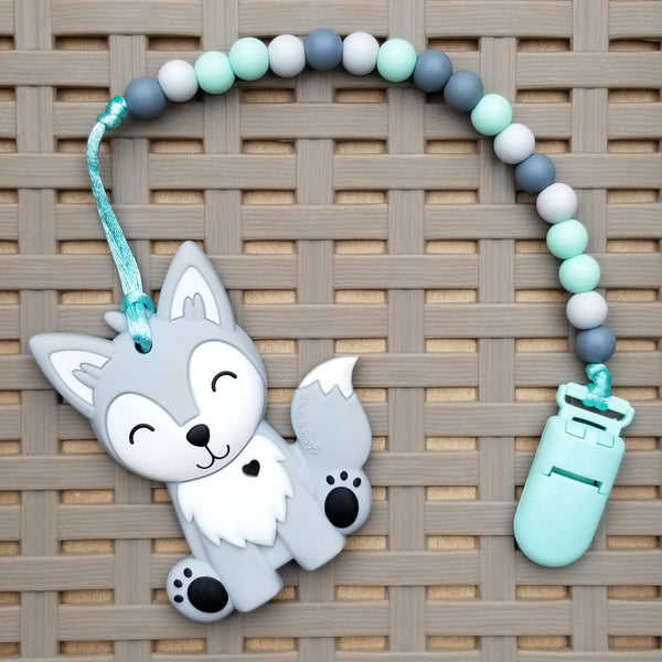 Pacifier/Teether Clip, Mint/Grey/Dark Grey, (9mm Silicone beads)