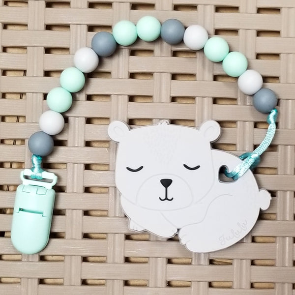 Pacifier/Teether Clip, Mint/Grey (12mm Silicone beads)