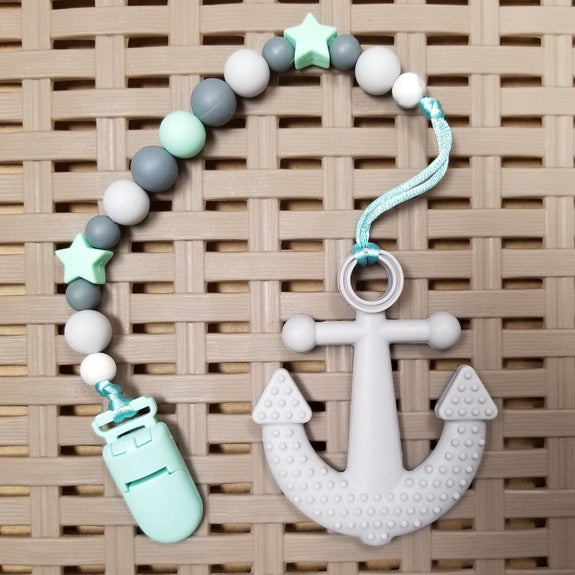 Pacifier/Teether Clip, Mint/Grey (9-12mm Silicone beads)