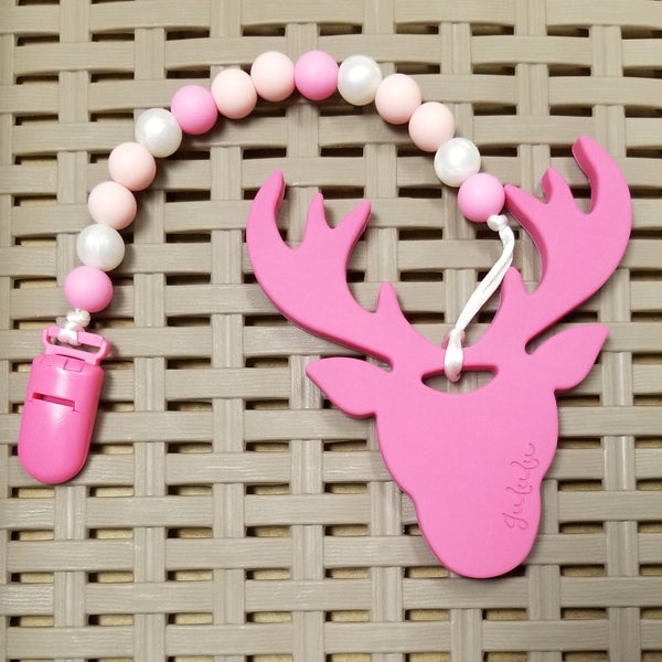 Pacifier/Teether Clip, Pink/Pearl, (12mm Silicone beads)