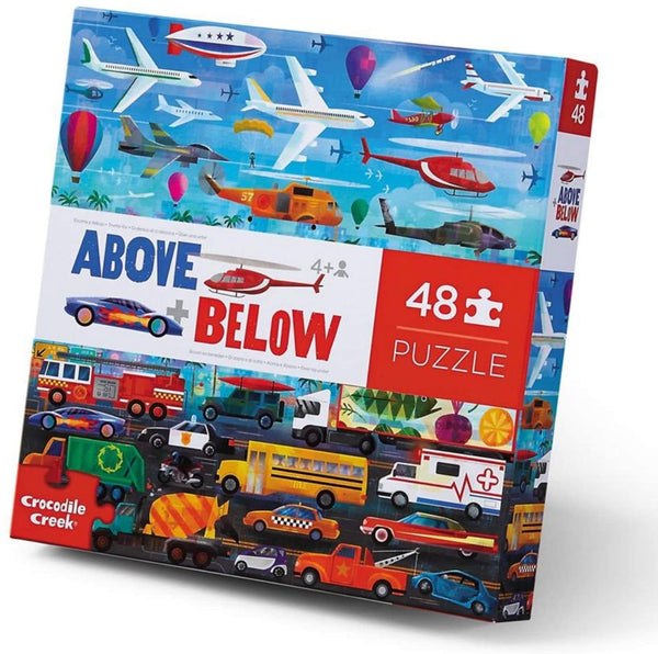 Above + Below - Things That Go - 48 Piece Giant Floor Puzzle for Kids Ages 4+