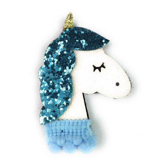 Blue Sparkly Unicorn Clip