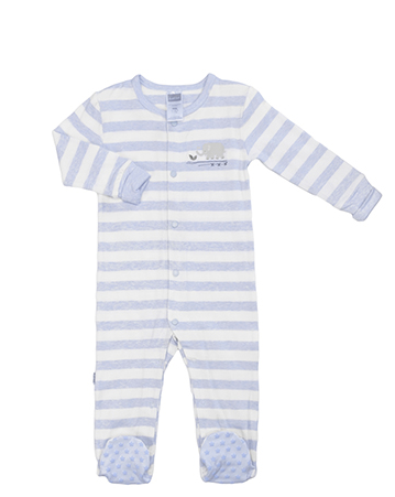 Front Snap Sleeper - Light Blue Stripe