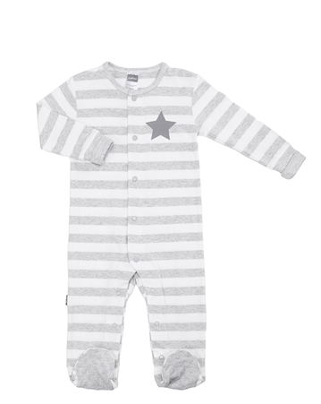 Front Snap Sleeper - Light Grey Stripe