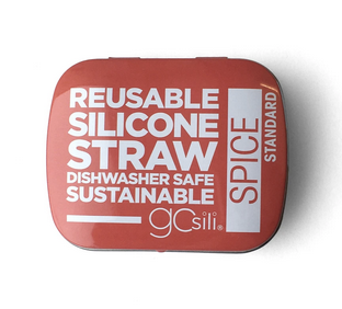 Single Reusable Silicone Straws in Tin