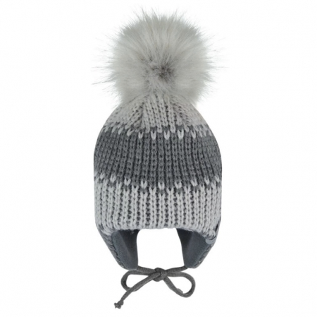 Winter beanie with ear covers and pompom