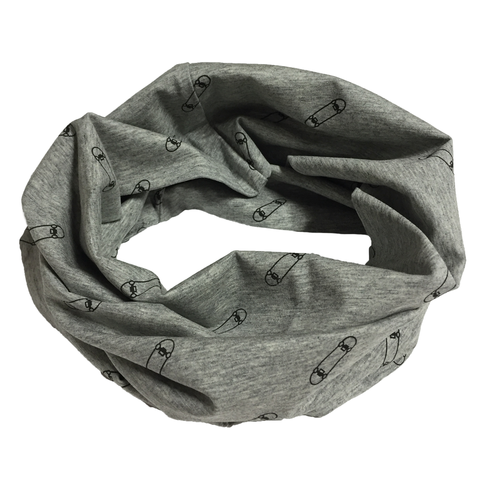 Cotton infinity scarf - Skate/gray