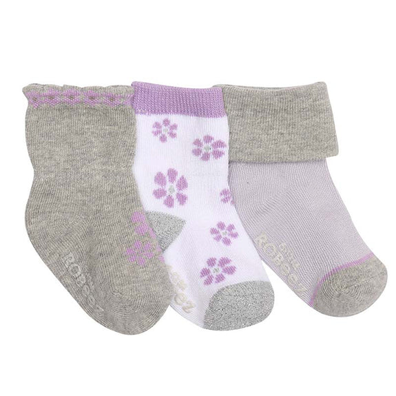 Robeez Socks Purple Flowers 3pk